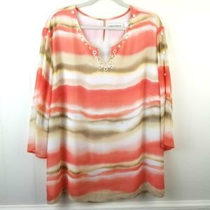 Alfred Dunner Sheer Layered Lined Blouse Size 22W